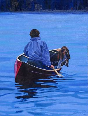 Canoeist Painting - Gray Hound Express by Phil Chadwick