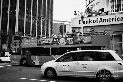 Gray Line New York Sightseeing Bus And Yellow Mpv Taxi Cab On 7th Avenue New York City Print by Joe Fox