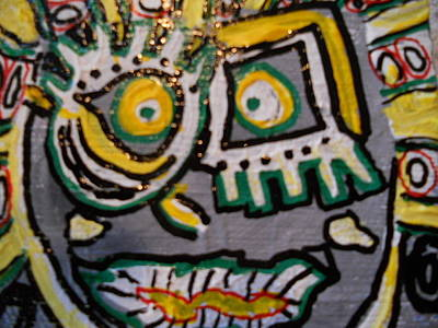 Indian Tribal Art Painting - Gray Mask by Dotti Hannum
