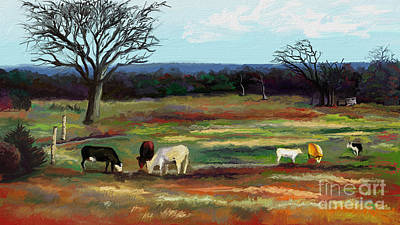 Landscape Digital Art - Grazing In The Pasture by Sandra Aguirre