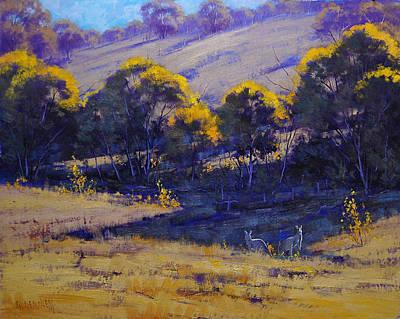 Kangaroo Painting - Grazing Kangaroos by Graham Gercken