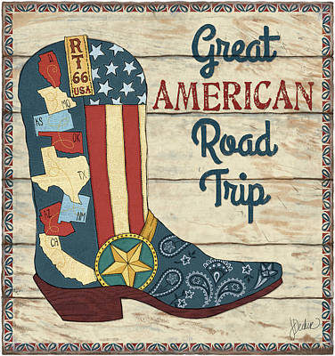 Cowboy Boots Painting - Great American Road Trip by Jacqueline Decker