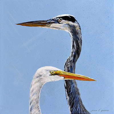 Great Blue And White Print by Joan Garcia