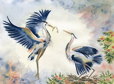 Great Blue Heron Painting - Great Blue Heron Couple by Melly Terpening