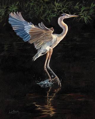 Great Blue Heron Print by David Stribbling