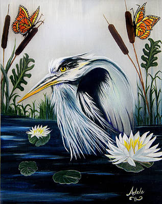 Great Blue Heron Happiness Print by Adele Moscaritolo