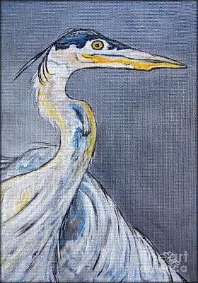 Heron Mixed Media - Great Blue Heron Painting by Ella Kaye Dickey