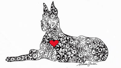 Dog Drawing - Great Dane by Melissa Sherbon
