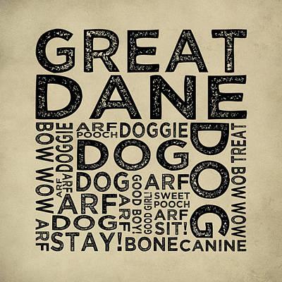 Great Dane Digital Art - Great Dane Typography by Flo Karp