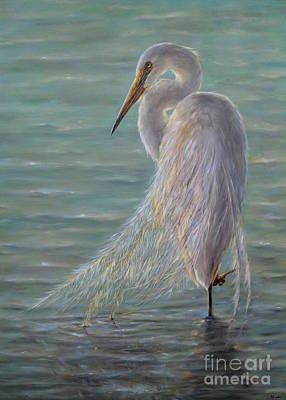 Plain Air Painting - Great Egret by Yelena Koehn