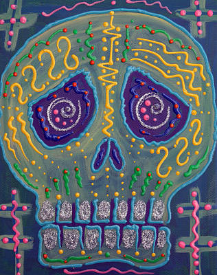 Candy Painting - Great Electric Skull by Laura Barbosa