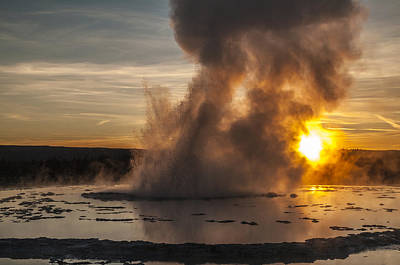 Great Fountain Geyser Sunset - Yellowstone National Park Print by Brian Harig