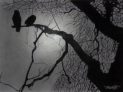Pencil Drawing - Great Horned Owl by Tim Dangaran