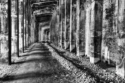 Great Northern Railroad Snow Shed - Black And White Print by Mark Kiver