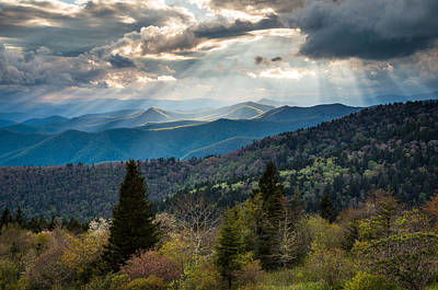 Great Smoky Mountains Light - Blue Ridge Parkway Landscape Print by Dave Allen