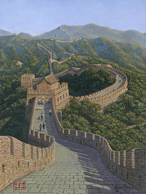 Oil For Sale Painting - Great Wall Of China Mutianyu Section by Richard Harpum