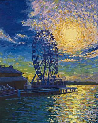 Ferris Wheel Painting - Great Wheel Sunset by Francesca Kee