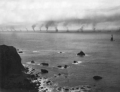 Battleship Photograph - Great White Fleet Visits Sf by Underwood Archives