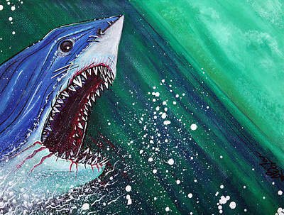 Shark Painting - Great White Gauntlet by Laura Barbosa