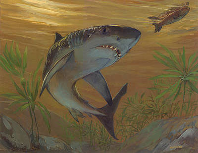 Great White Shark Original by ACE Coinage painting by Michael Rothman