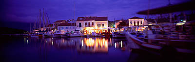 Outdoor Cafes Photograph - Greece, Cephalonia, Light Illuminated by Panoramic Images