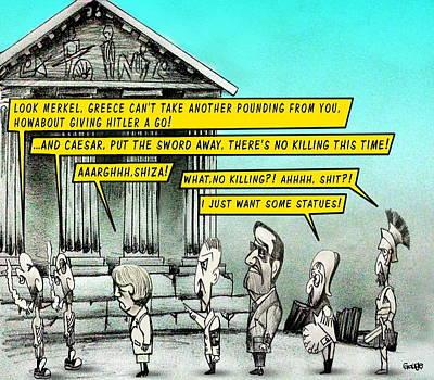 Debt Drawing - Greece For Sale by Kim Gauge