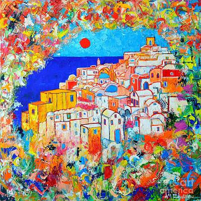 Blue And Red Painting - Greece - Santorini Island - Abstract Impression From Oia At Sunset - A Moment In Time by Ana Maria Edulescu