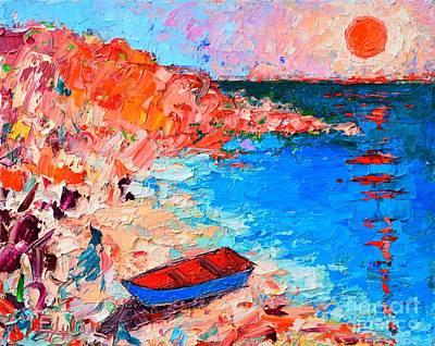 Blue And Red Painting - Greece - Santorini Island - Fishing Boat On Akrotiri Beach At Sunrise by Ana Maria Edulescu