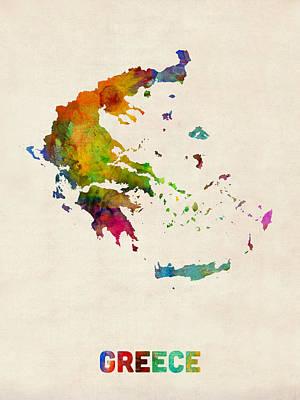 Greece Digital Art - Greece Watercolor Map by Michael Tompsett