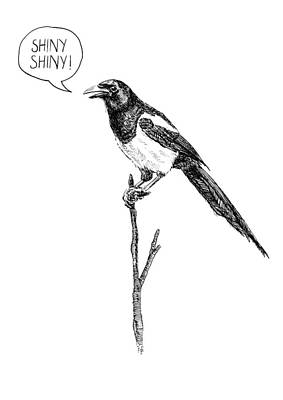 Magpies Drawing - Greedy Magpie  by Artur Dabrowski