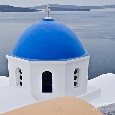 Ocean Photograph - Greek Blue Domed Church by Ning Mosberger-Tang