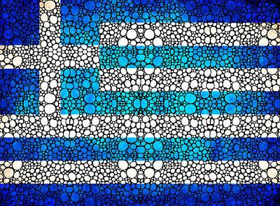Greece Digital Art - Greek Flag - Greece Stone Rock'd Art By Sharon Cummings by Sharon Cummings