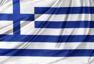 Greek Flag Print by Les Cunliffe