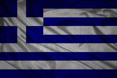Waving Flag Mixed Media - Greek Flag Waving On Canvas by Eti Reid
