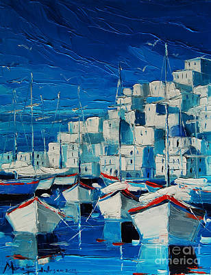 Greek Harbor Print by Mona Edulesco