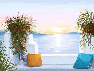 Seascape Digital Painting - Greek House by Veronica Minozzi