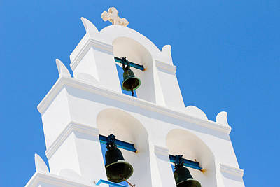 Greek Orthodox Church Bells On Santorini Print by Laura Palmer