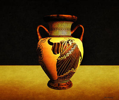 Greek Vase Print by Ramon Martinez
