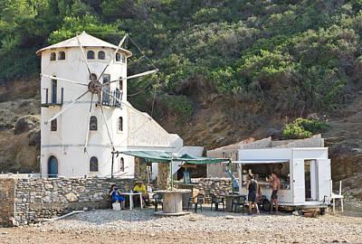 Snack Bar Photograph - Greek Windmill by Tom Gowanlock