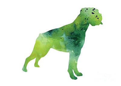 Boxer Dog Mixed Media - Green Abstract Boxer For Sale by Joanna Szmerdt