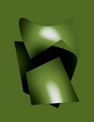 Greens Digital Art - Green Abstract Geometry by Mario Perez