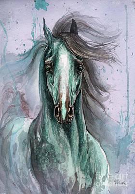 Wild Horses Drawing - Green And Blue Arabian Horse by Angel  Tarantella