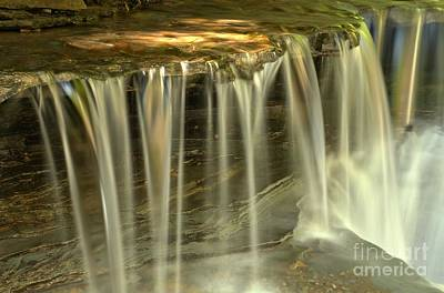 Ledge Photograph - Green And Golden Streams At Stony Brook by Adam Jewell
