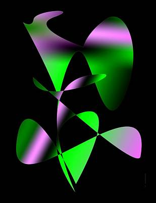 Violet Digital Art - Green And Purple Abstract Art by Mario Perez