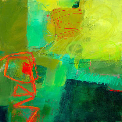 Red Abstract Painting - Green And Red #1 by Jane Davies