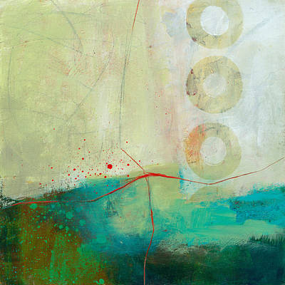 Grid Painting - Green And Red 2 by Jane Davies