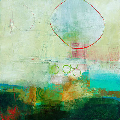 Abstract Collage Painting - Green And Red 6 by Jane Davies