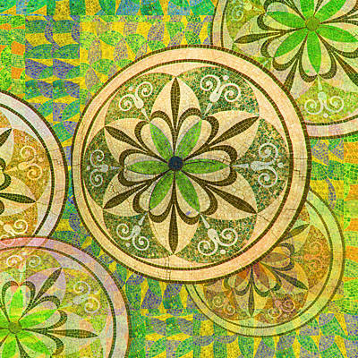 Green And Yellow Mosaic Circles And Flowers Original by Tony Rubino