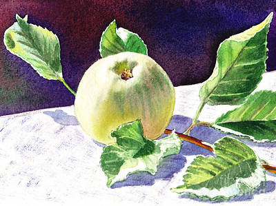 Still Life With Green Apples Painting - Green Apple by Irina Sztukowski