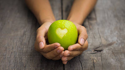 Green Apple With Engraved Heart Print by Aged Pixel
